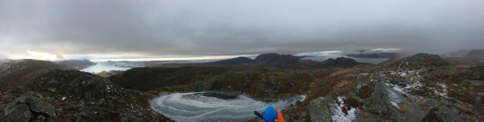 Et panoramabilde ved Kjølsfjellet februar 2017. Test